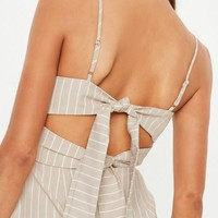 Missguided - Nude Tie Back Cami Shift Dress
