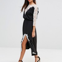 French Connection Isla Lace 3/4 Sleeve Midi Dress at asos.com