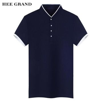 HEE GRAND Polo Shirt For Men Stand Collar Slim Fitted Solid Color