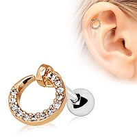 Rose Gold Plated Jeweled Circular Ring WildKlass Cartilage Earring