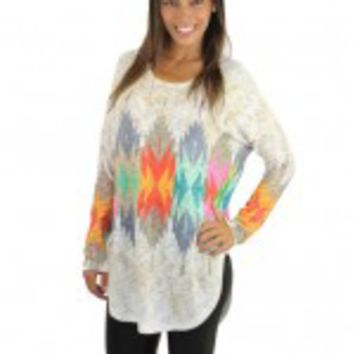 Multi Color Tribal Print Top