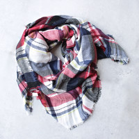 oversize plaid blanket scarf - red