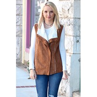 Suede Front, Sweater Back Faux Fur Lined Vest {Camel} - Size SMALL
