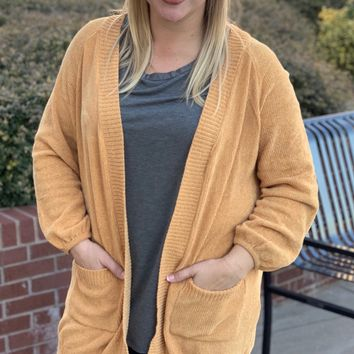 Every Day in the Winter Chenille Cardigan in Mustard
