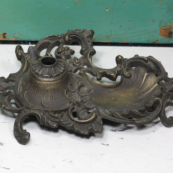 Unusual Vintage Lamp Base . Cast Metal Antiqued Brass Tone . Table Lamp Parts . Ornate Reticulated