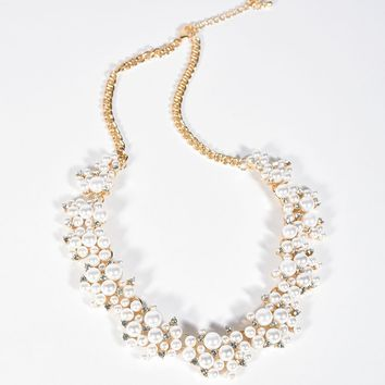 Vintage Style Gold & Ivory Pearl Necklace