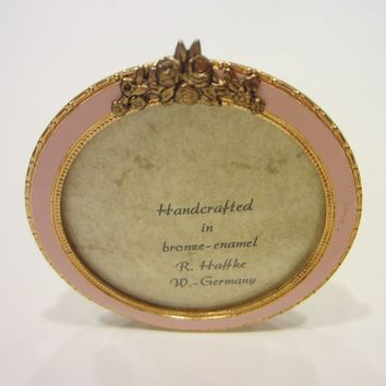 R Haffke W Germany Enameled Miniature Gilt Bronze Pink Picture Frame