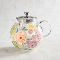 Hand-Painted Floral Infuser Teapot