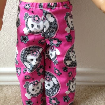 Pink and Gray Skull Pajama Pants: fits most 18 in dolls