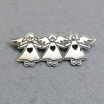 Sterling Silver Trio of Angels Brooch, Mexican Sterling Pin