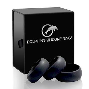 Mens Silicone Wedding Ring Silicone Wedding Band Black for Men - 3 Rings Set ...