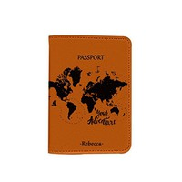 Adventure World Map [Name Customized] Leather Passport Holder - Leather Passport Cover - Travel Accessory- Travel Wallet for Women and Men_SCORPIOshop