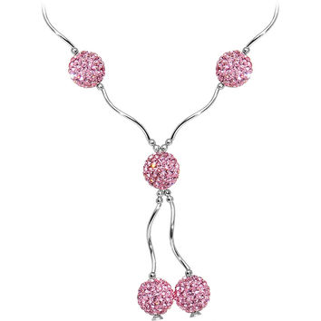 Sterling Silver Pink Crystal Ball Drop Necklace