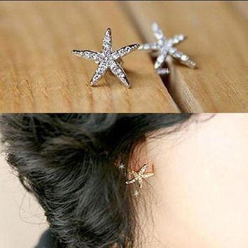 ac spbest Full diamond starfish earrings rhinestone five-pointed star earrings