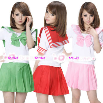 5C Japanese Japan School Uniform Dress Cosplay Costume Anime Girl Lady Lolita