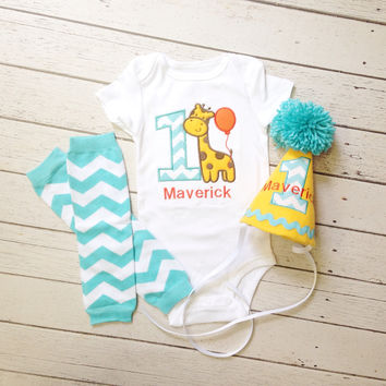 Baby Boys 1st Birthday Giraffe Outfit, Baby Boy's Cake Smash Outfit, Birthday Hat, Baby Boy Leg Warmers