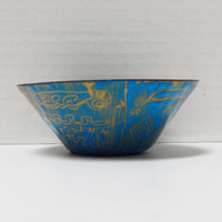 Vintage Metal Dish, African, Painted Blue with Gold Designs