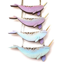 Handpainted Lasercut Pastel Narwhal Necklace with Gold Horn, Unicorns of the Sea