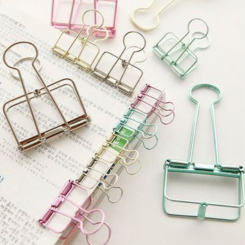 1 pcs Cute Metal Binder Clips Clips Small Craft Photo Pegs office bookmarks Kawaii Stationery 8 Color Size S M L