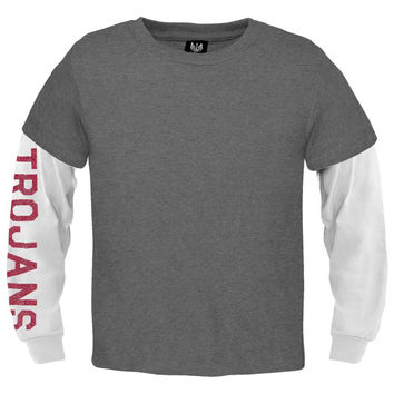 USC Trojans - Glitter Sleeve Youth 2Fer Long Sleeve T-Shirt