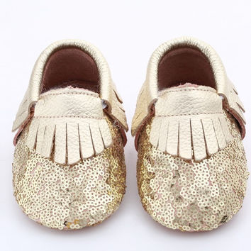 Gold Sequin Baby, Toddler Moccasins