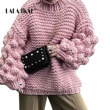 LALA IKAI Winter Turtleneck Sweaters Women Lantern Sleeve Thick Pullover Loose Oversize Hand Knitted Sweater Outerwear SWA1556