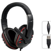 USB Plug Stereo On-ear Headset Headphones with Microphone & 2M Cable for PS3 / PS3 Slim (Black+Red)