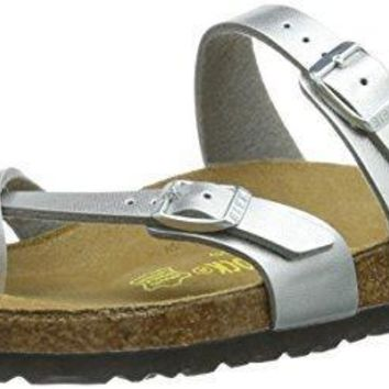 Birkenstock Women's Mayari Adjustable Toe Loop Cork Footbed Sandal Silver 38 M EU