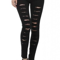 Lookbookstore Woman Cut-out Punk Novel Ripped Jeans Denim Jeggings Trousers