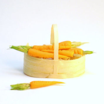 Miniature Food Basket of Carrots for Dollhouse Fairy Garden