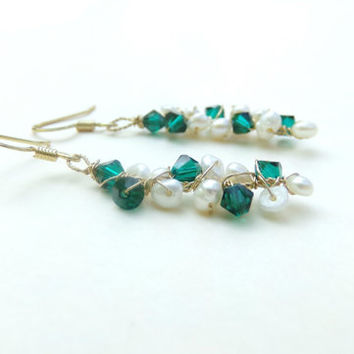 Emerald Green Swarovski Crystals and Seed Pearl Gold Wire Wrapped Twig Dangle Earrings