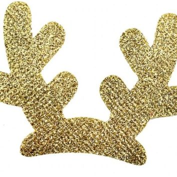 "3"" gold glitter reindeer antlers Christmas padded appliqués"