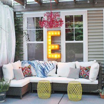 """36"""" Letter E Lighted Vintage Marquee Letters (Rustic)"""