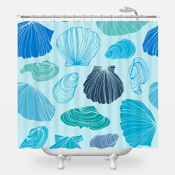 Turquoise Shells Shower Curtain