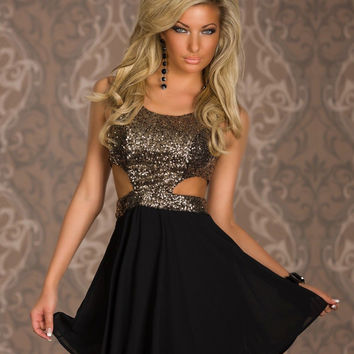 Gold Sleeveless Sequined Cut Out Top Skater Dress