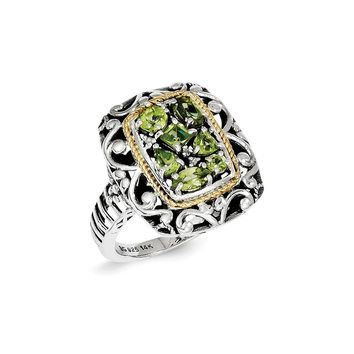 Antique Style Sterling Silver with 14k Gold Diamond & Gemstone Ring