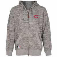 Cincinnati Reds Majestic Clubhouse Fleece Hooded Sweatshirt – Heather Gray