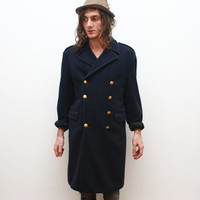 Vintage 1950s Marines Blue Wool Trench Coat Men