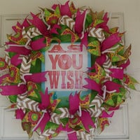 As You Wish The Princess Bride Movie Quote Deco Mesh Door Wreath Decor Gift, Mother's Day, Gift, Poster