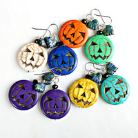 Jack Turquoise Earrings - Your Choice of Colors Jack The Pumpkin King Tropical Earrings by Mei Faith