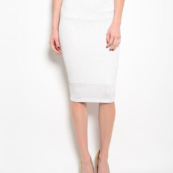 Glitter Midi Pencil Skirt in White