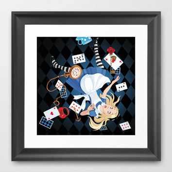 Wonderland Alice Going Down the Hole Framed Art Print by Cabinet Of Pretty Things