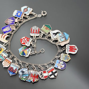 Vintage Travel Shield 24 Charm Bracelet. Silver 800. European Tour Souvenir