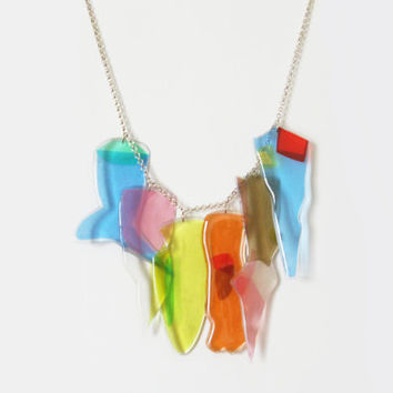 Charms Statement Necklace, Colorful Candy Charm Necklace, Summer Bib Necklace, Clear Resin Jewelry, Unique Gift for Her, Whimsical