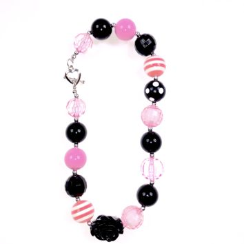 RTS Pink and Black Polka Dot Chunky Necklace