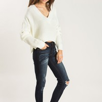 Harper Cream V-neck Cropped Sweater