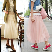 Vintage Womens 3 Layer Tulle Skirt Bouffant Long Maxi Tutu Skirts Pleated Dress 7_S = 1913410244