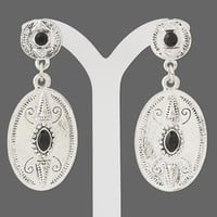 "Caved Antiqued Silver Pewter Ovals with Black Accents 2"" Long Dangle Earrings"