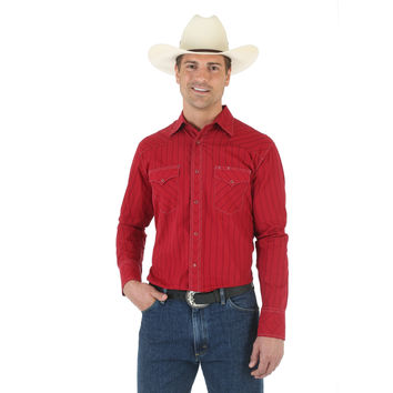Wrangler Silver Edition Mens Red Long Sleeve Snap Western Shirt 75049RD