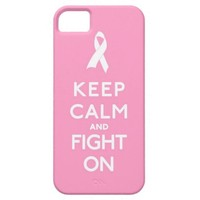 Keep Calm and Fight On Pink Ribbon Breast Cancer Cover For iPhone 5/5S